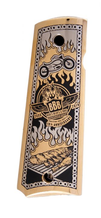 Bikes, Blues & BBQ 15th Anniversary Custom Engraved Metal 1911 Grips