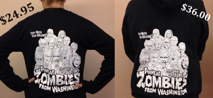 Zombie Pinheads T-shirts and Hoodies